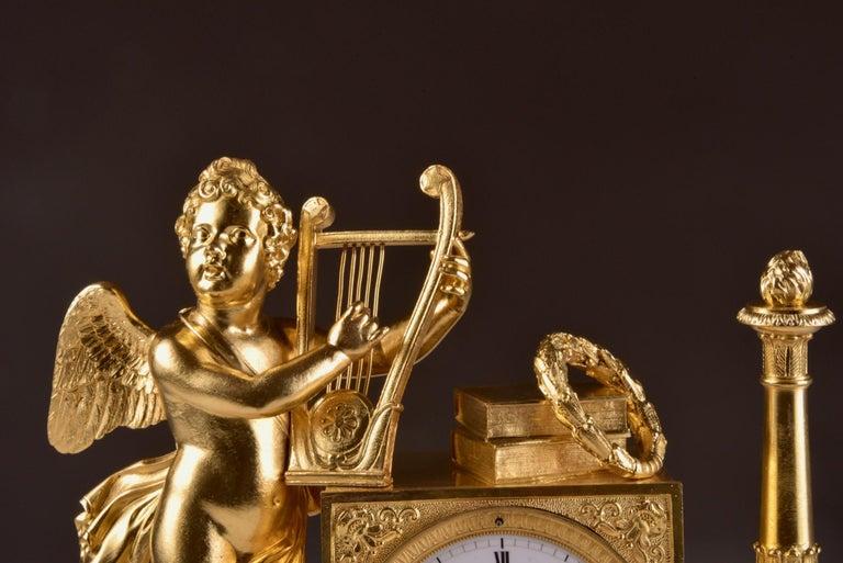 Bronze Rare High Quality Cupid Empire Pendulum, circa 1810 For Sale