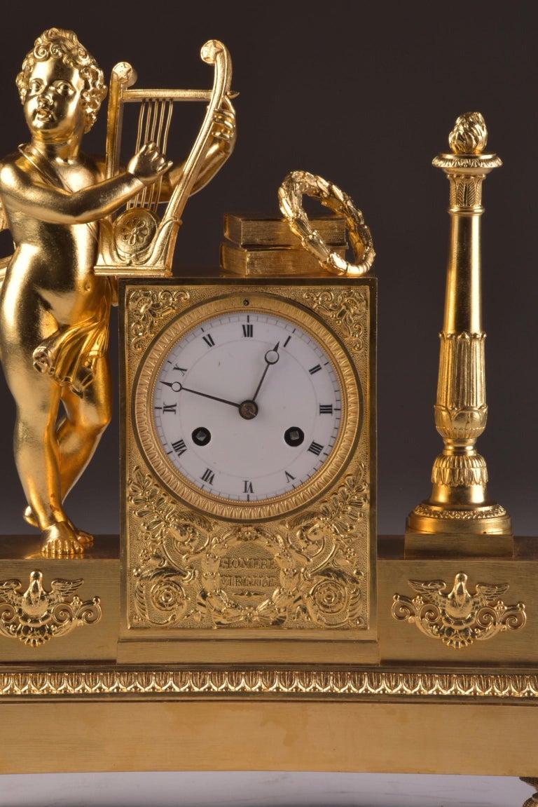 Rare High Quality Cupid Empire Pendulum, circa 1810 For Sale 1