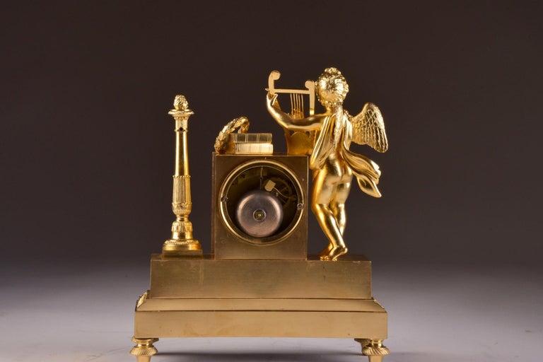 Rare High Quality Cupid Empire Pendulum, circa 1810 For Sale 2