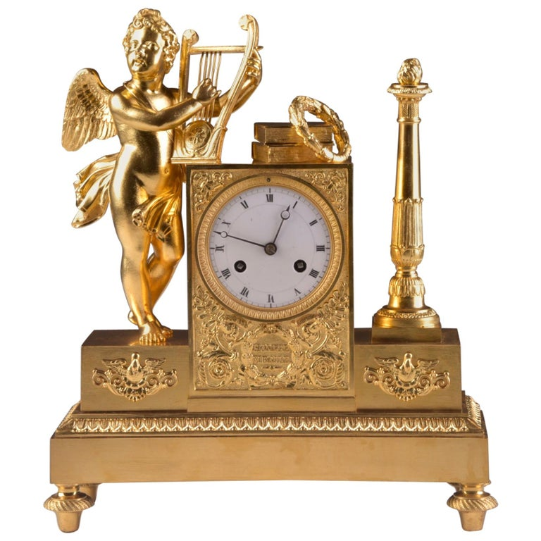 Rare High Quality Cupid Empire Pendulum, circa 1810 For Sale