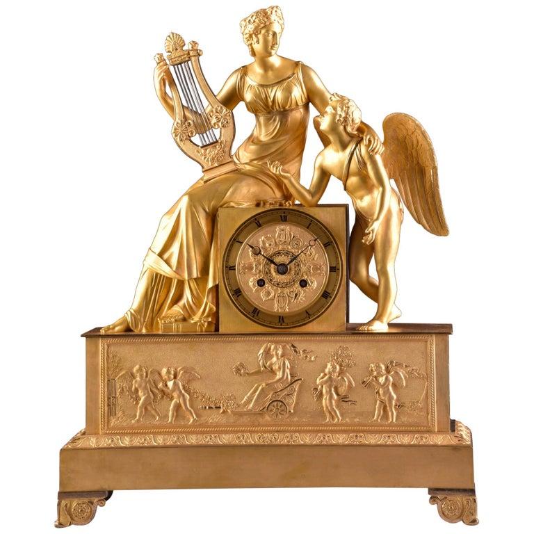 "Rare High Quality ""Erato and Cupid"" Empire Pendulum, circa 1810 For Sale"