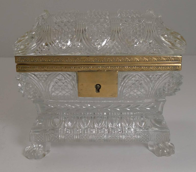 Rare Highly Cut Baccarat Jewelry Casket / Box, circa 1860 For Sale 3
