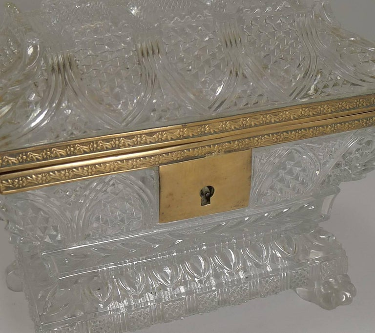 Napoleon III Rare Highly Cut Baccarat Jewelry Casket / Box, circa 1860 For Sale