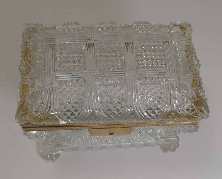 French Rare Highly Cut Baccarat Jewelry Casket / Box, circa 1860 For Sale