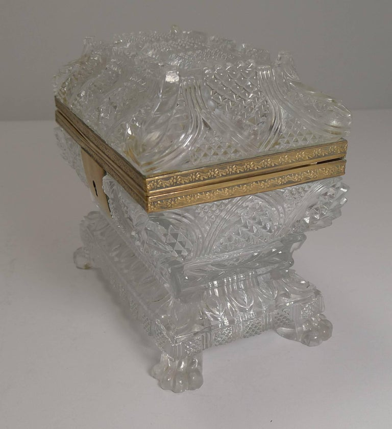 Mid-19th Century Rare Highly Cut Baccarat Jewelry Casket / Box, circa 1860 For Sale