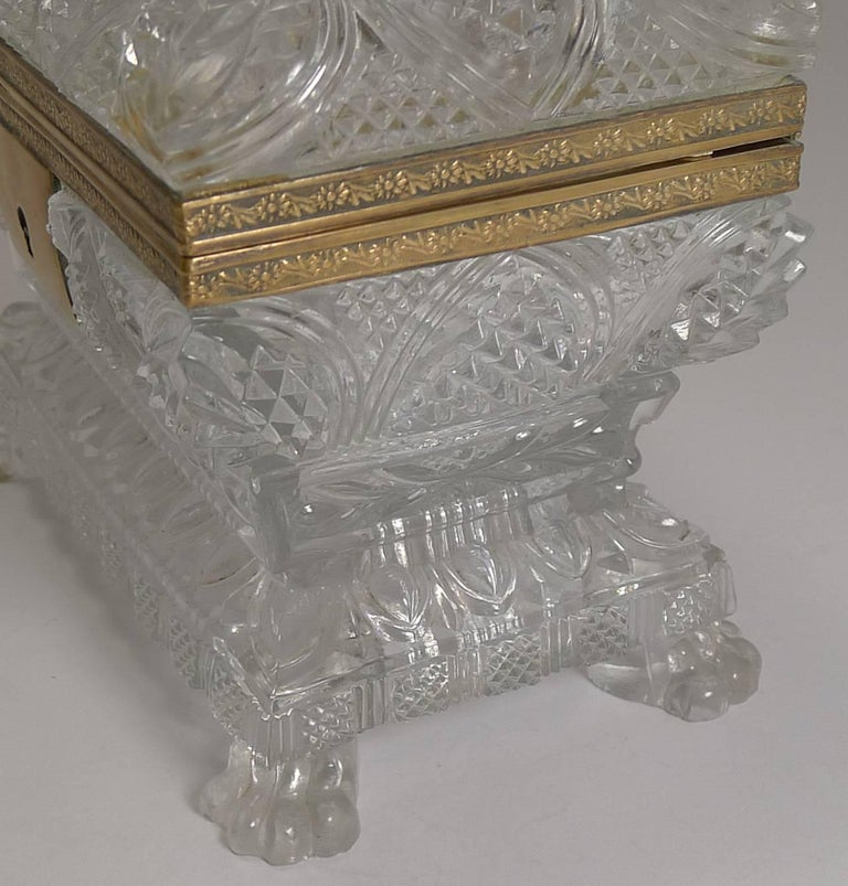 Crystal Rare Highly Cut Baccarat Jewelry Casket / Box, circa 1860 For Sale