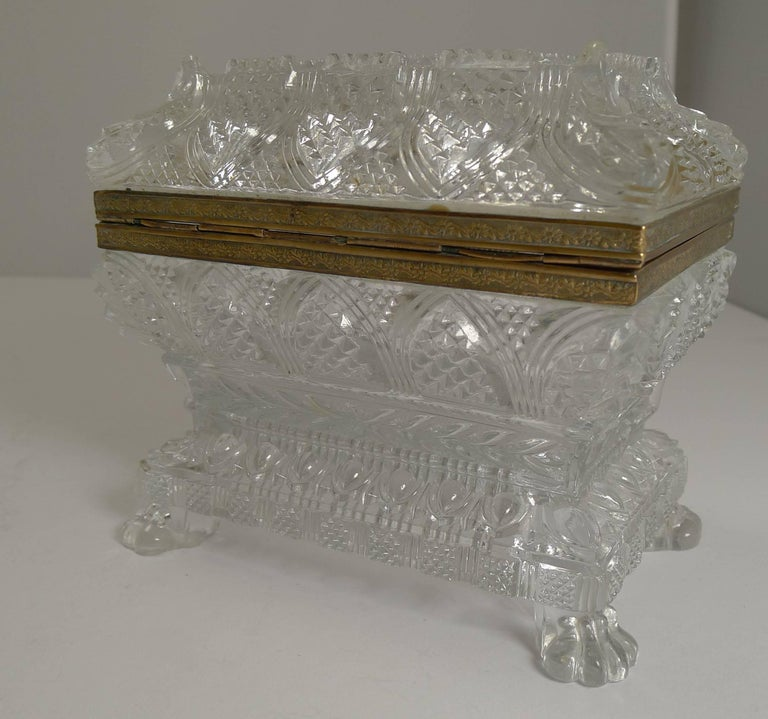 Rare Highly Cut Baccarat Jewelry Casket / Box, circa 1860 For Sale 1