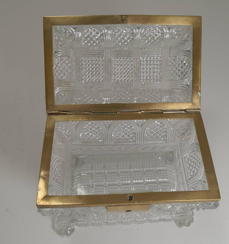 Rare Highly Cut Baccarat Jewelry Casket / Box, circa 1860 For Sale 2