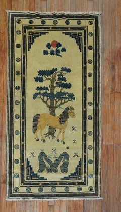 Rare Horse Antique Pictorial Mongolian Scatter Size Early 20th Century Rug
