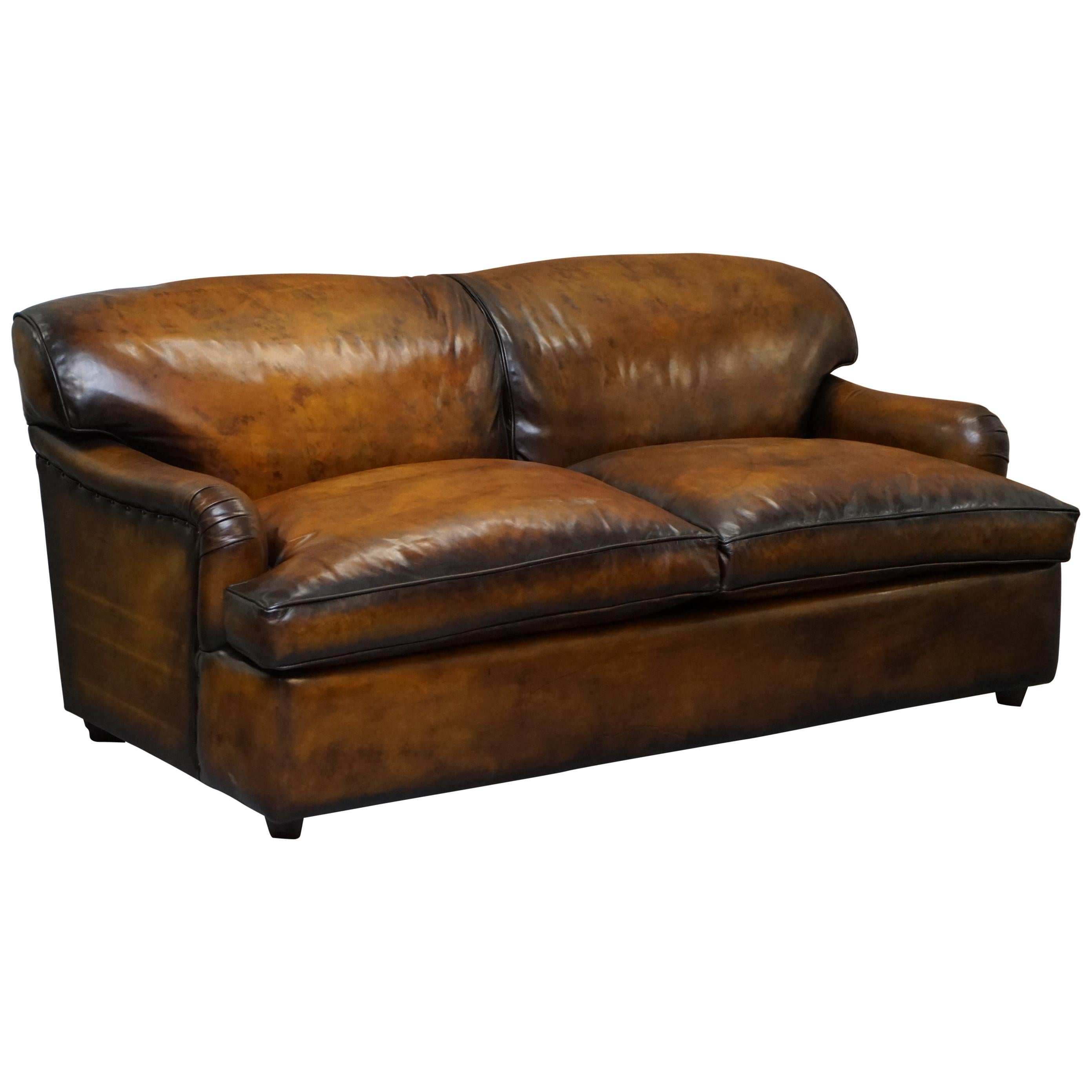 - Collin And Hayes Aged Brown Leather Sofa Bed With Feather Filled
