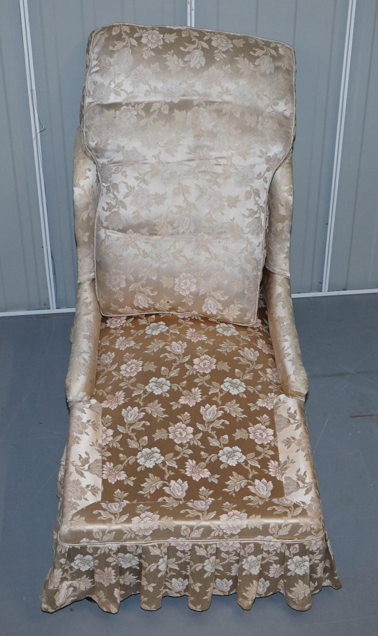 Rare Howard & Son's Berners Street Fully Stamped Daybed Chaise Lounge Armchair For Sale 7