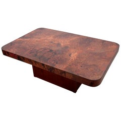 Rare Huge Copper and Mahogany Coffee Table by Bernhard Rohne