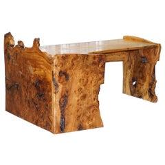 Rare Huge Slabbed Burr Elm Desk or Writing Table from the Tim Stead Workshop