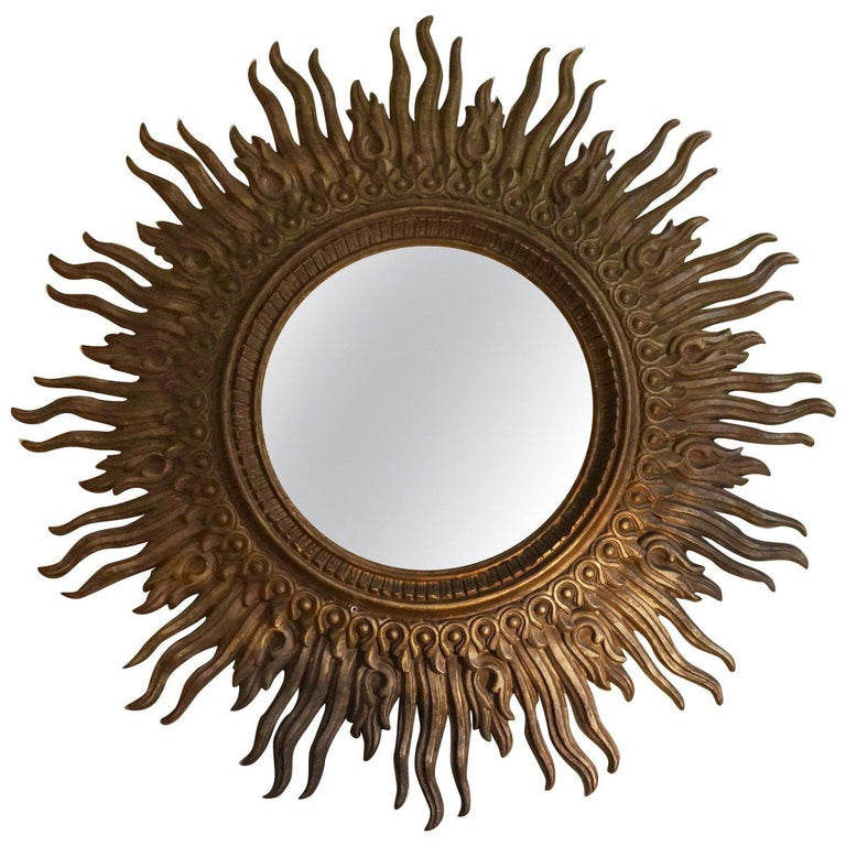 Rare Huge Sunburst Mirror For Sale