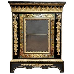 Rare Hyppolite Pretot, Napoleon III Cabinet in Boulle Marquetry, France
