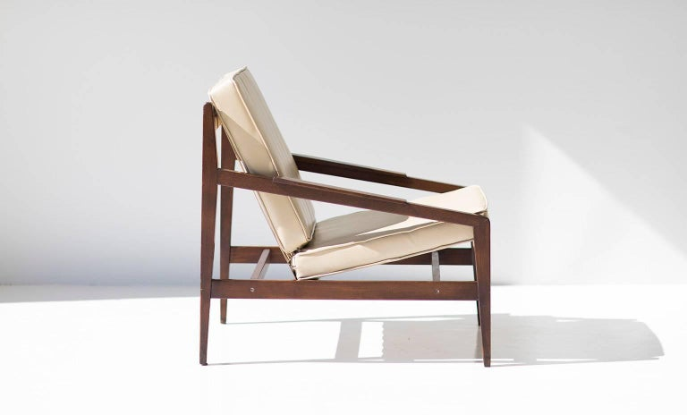 Leather Rare Ib Kofod Larsen Lounge Chair for Selig Imports For Sale