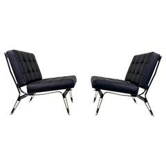 Rare Ico Parisi '856' Leather Lounge Chairs, Cassina, 1957