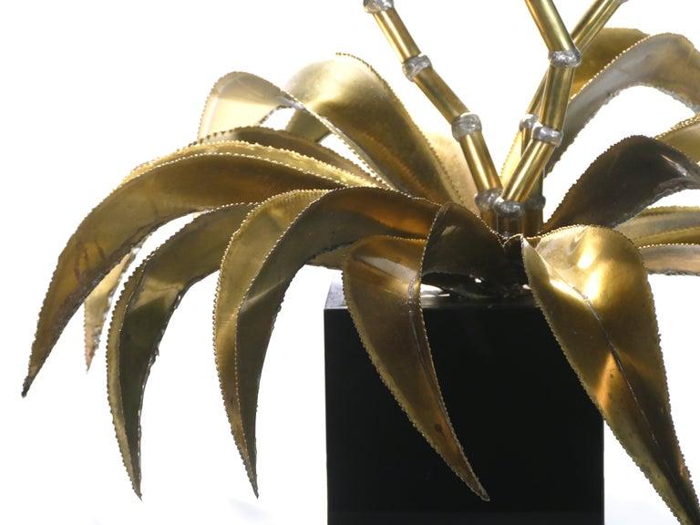 Late 20th Century Rare Iconic Maison Jansen Brass Flower Lamp, 1970s For Sale