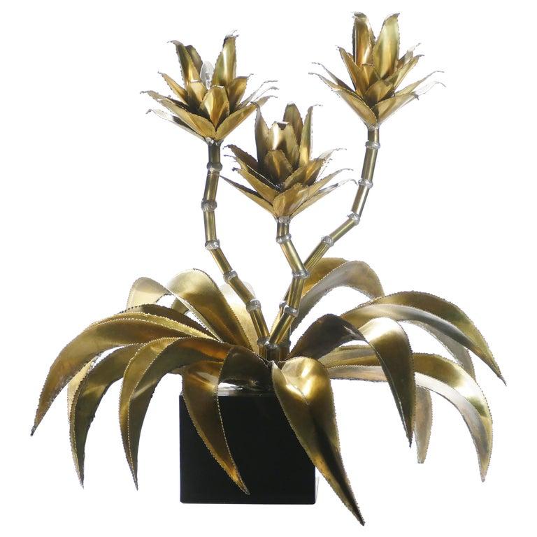 Rare Iconic Maison Jansen Brass Flower Lamp, 1970s For Sale