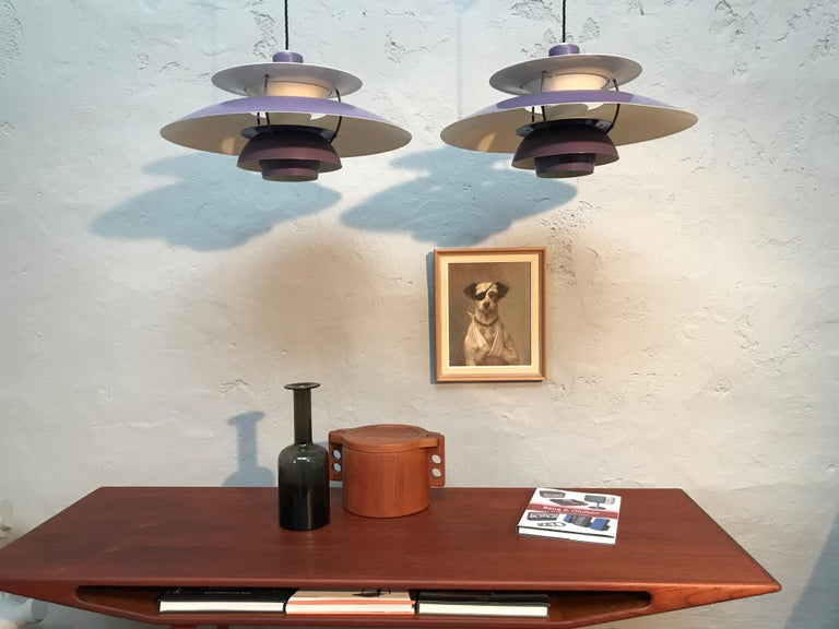 Rare Iconic vintage PH 5 chandelier pendant lamps from 1959. Poul Henningsen designed this iconic lamp in 1958 and in September of the same year they were presented to the public at Illums Bolighus. And we are presenting here an identical