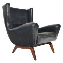 Rare Illum WikkelsøModel 110 High Wingback Lounge Chair in Rosewood