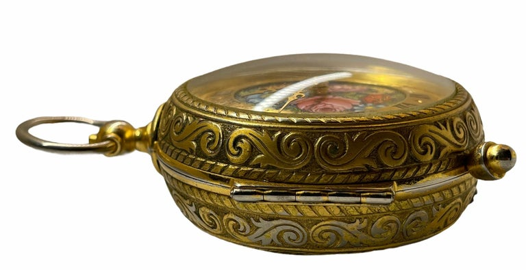 Rare IMHOF Bronze Enamel Alarm Travel Clock For Sale 3