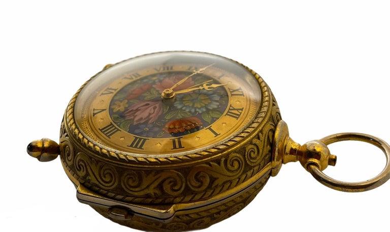Rare IMHOF Bronze Enamel Alarm Travel Clock For Sale 5