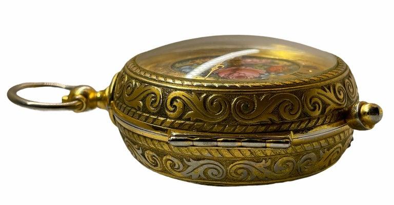 Rare IMHOF Bronze Enamel Alarm Travel Clock For Sale 6