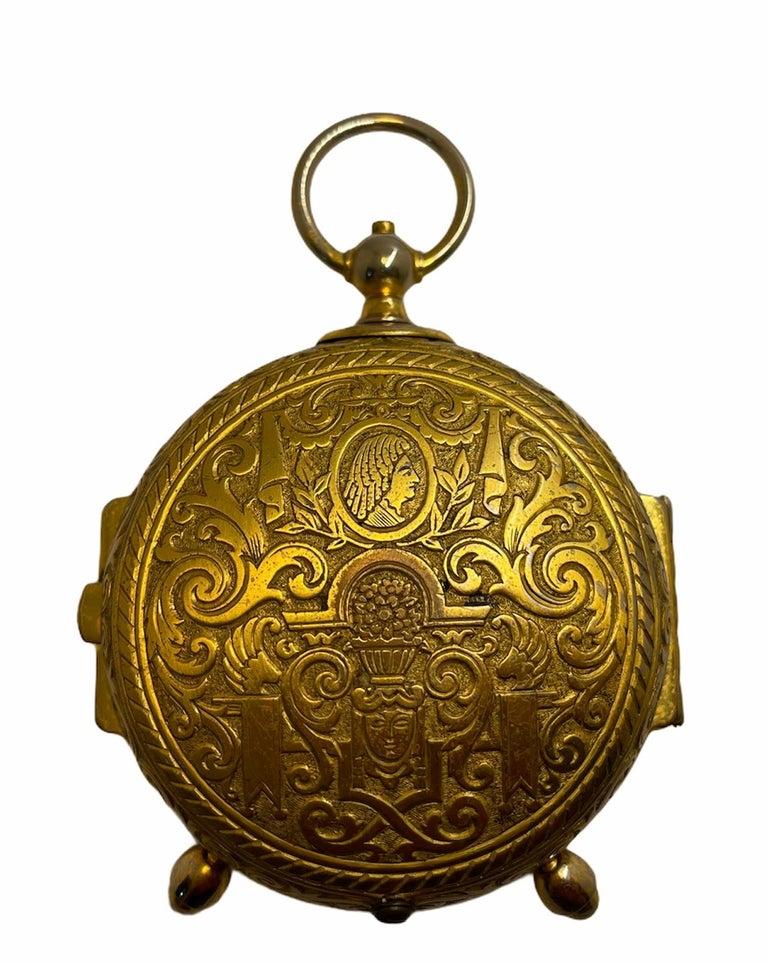 Rare IMHOF Bronze Enamel Alarm Travel Clock For Sale 7