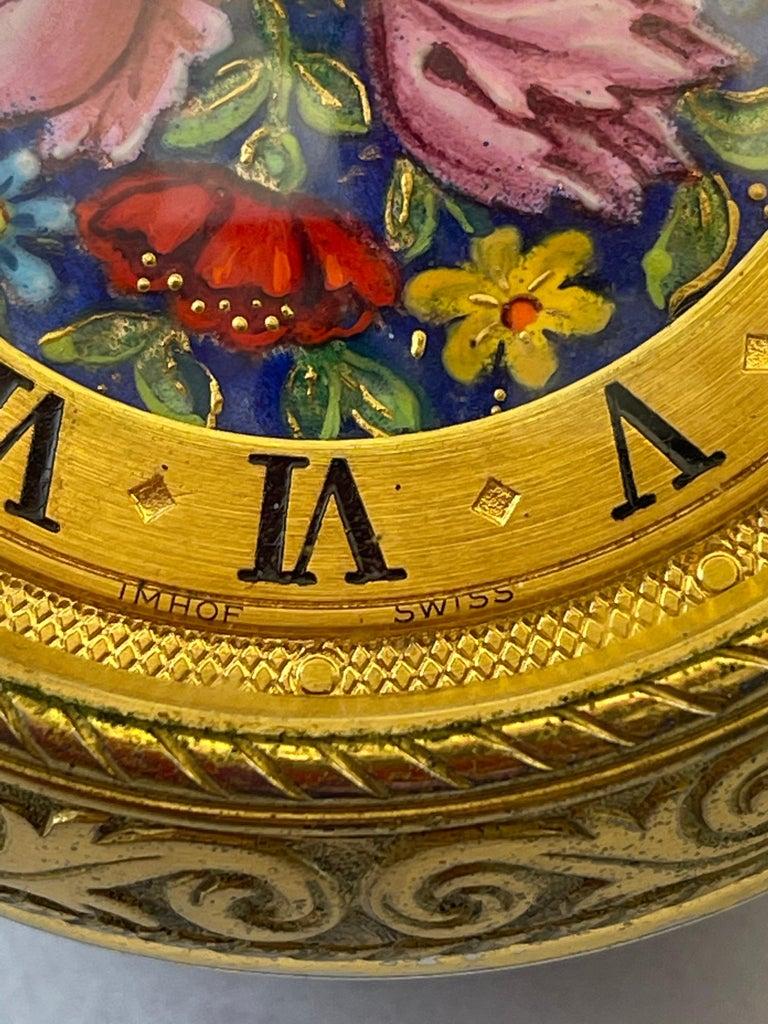Neoclassical Rare IMHOF Bronze Enamel Alarm Travel Clock For Sale