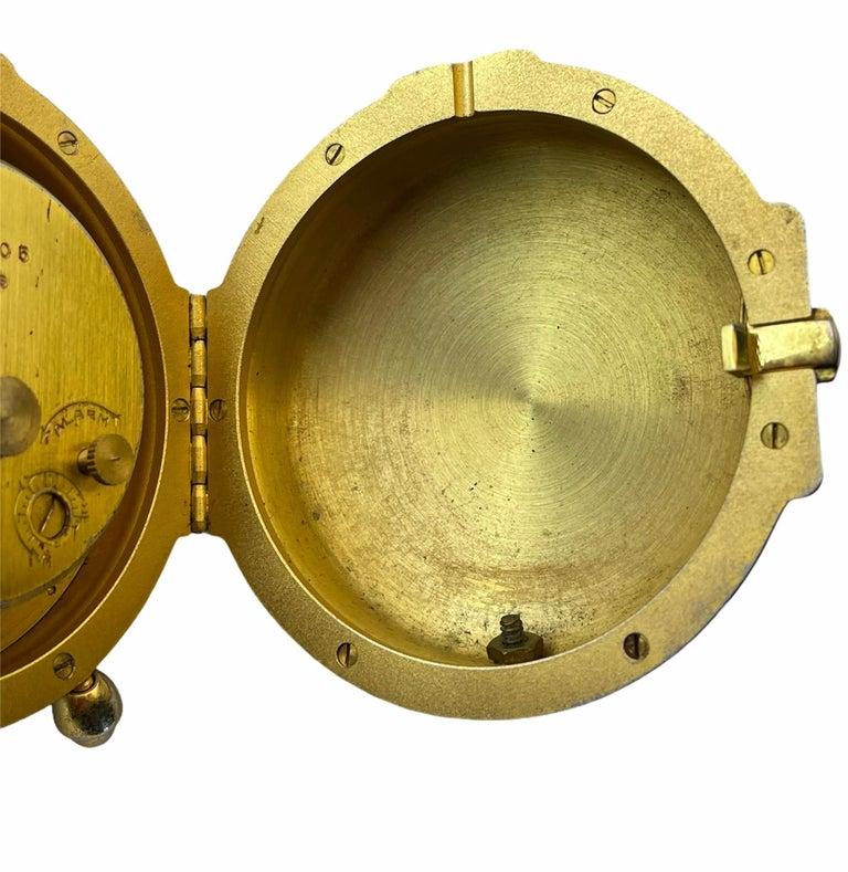 Embossed Rare IMHOF Bronze Enamel Alarm Travel Clock For Sale