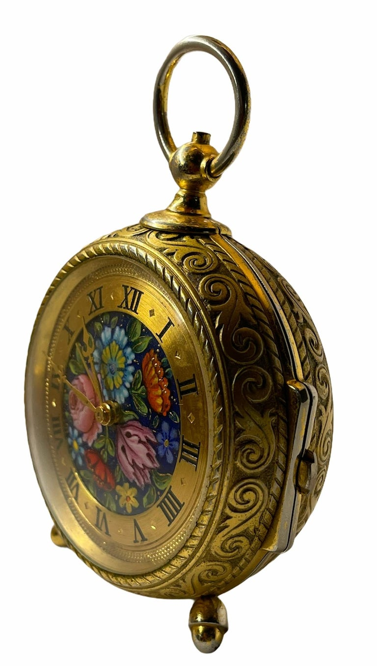 Rare IMHOF Bronze Enamel Alarm Travel Clock In Good Condition For Sale In Guaynabo, PR