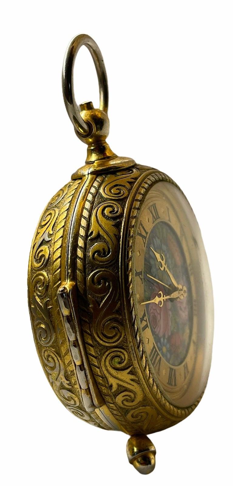 20th Century Rare IMHOF Bronze Enamel Alarm Travel Clock For Sale