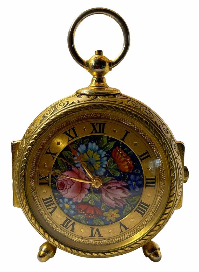 Rare IMHOF Bronze Enamel Alarm Travel Clock For Sale 1