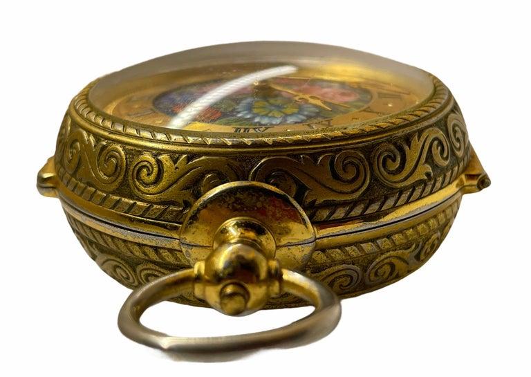 Rare IMHOF Bronze Enamel Alarm Travel Clock For Sale 2