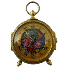 Rare IMHOF Bronze Enamel Alarm Travel Clock
