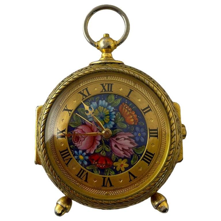 Rare IMHOF Bronze Enamel Alarm Travel Clock For Sale