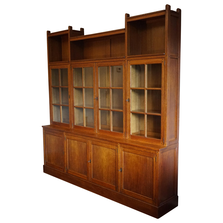Rare & Important Dutch Arts & Crafts Oak Bookcase By Architect H.P. Berlage