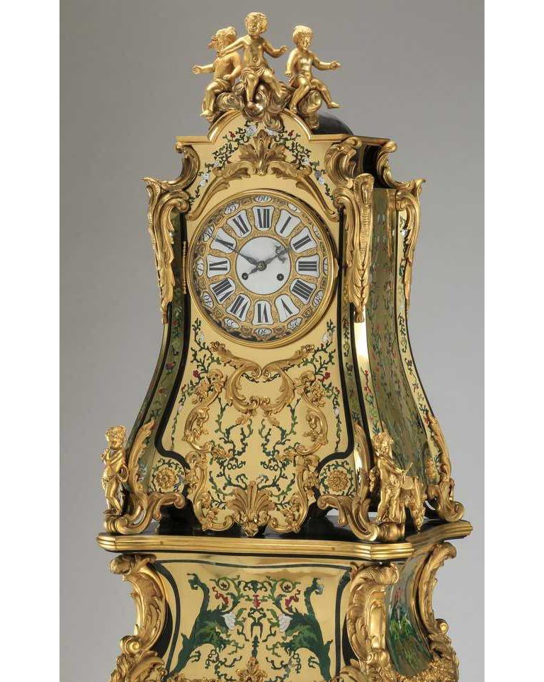 A rare and important French Louis XIV style gilt bronze mounted green boulle marquetry clock, Regulateur De Parquet, with matching original pedestal, circa 1890s. After the Model by Jean-Pierre Latz.