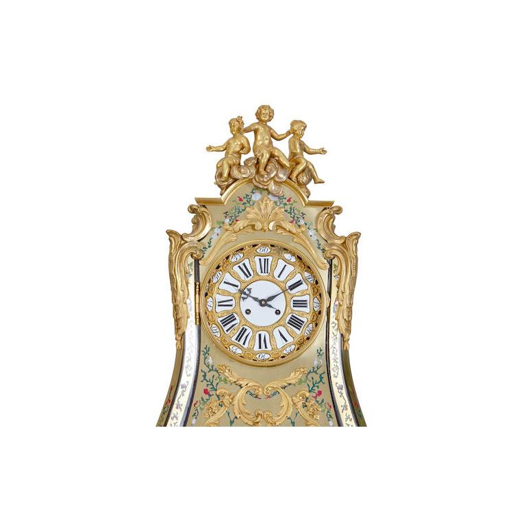Brass Rare Important French Louis XIV Style Gilt-Bronze Mounted Boulle Marquetry Clock For Sale