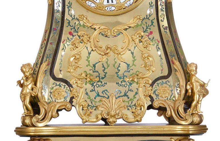 Rare Important French Louis XIV Style Gilt-Bronze Mounted Boulle Marquetry Clock For Sale 2