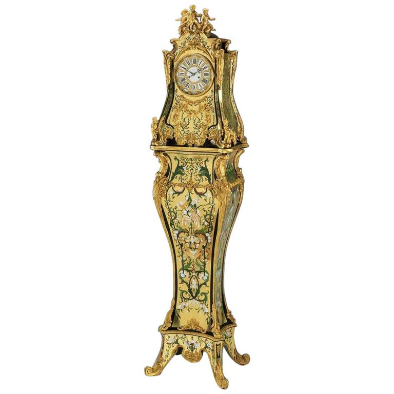 Rare Important French Louis XIV Style Gilt-Bronze Mounted Boulle Marquetry Clock For Sale