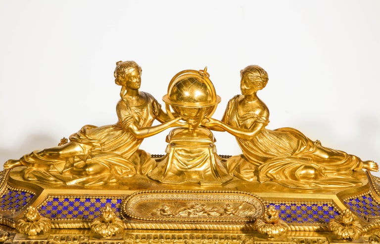 Rare Important French Ormolu Sevres Style Porcelain Jewelry Box on Bronze Table For Sale 5