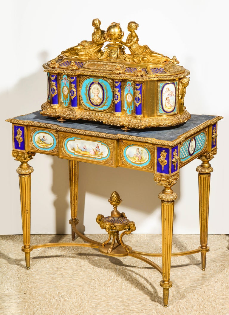 Rare Important French Ormolu Sevres Style Porcelain Jewelry Box on Bronze Table For Sale 13