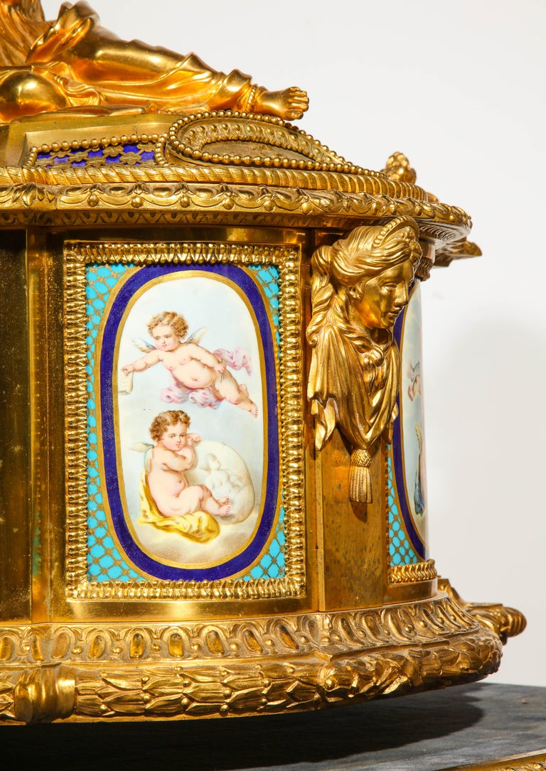 Rare Important French Ormolu Sevres Style Porcelain Jewelry Box on Bronze Table For Sale 14