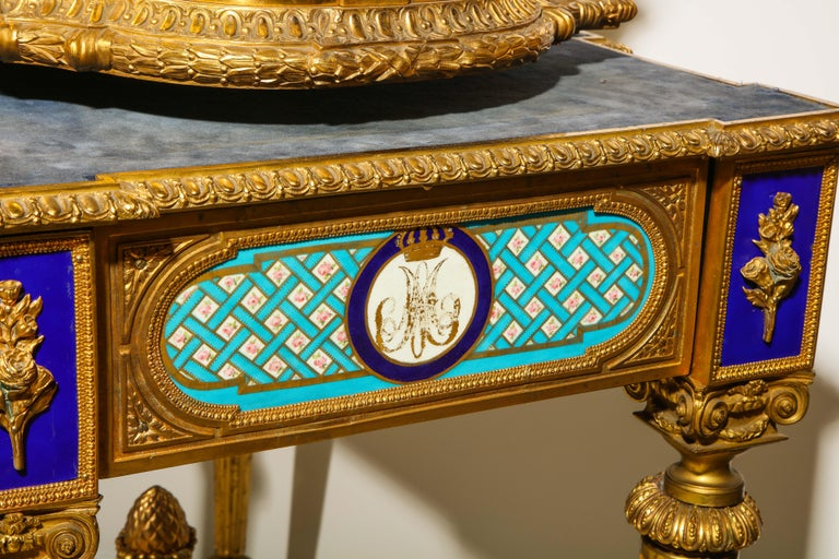 Rare Important French Ormolu Sevres Style Porcelain Jewelry Box on Bronze Table For Sale 15