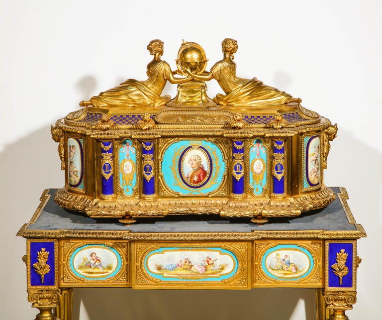 Napoleon III Rare Important French Ormolu Sevres Style Porcelain Jewelry Box on Bronze Table For Sale