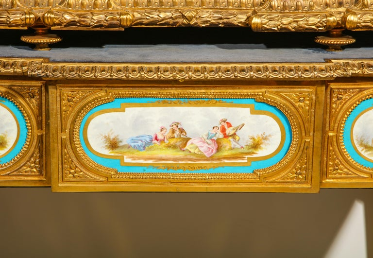 19th Century Rare Important French Ormolu Sevres Style Porcelain Jewelry Box on Bronze Table For Sale