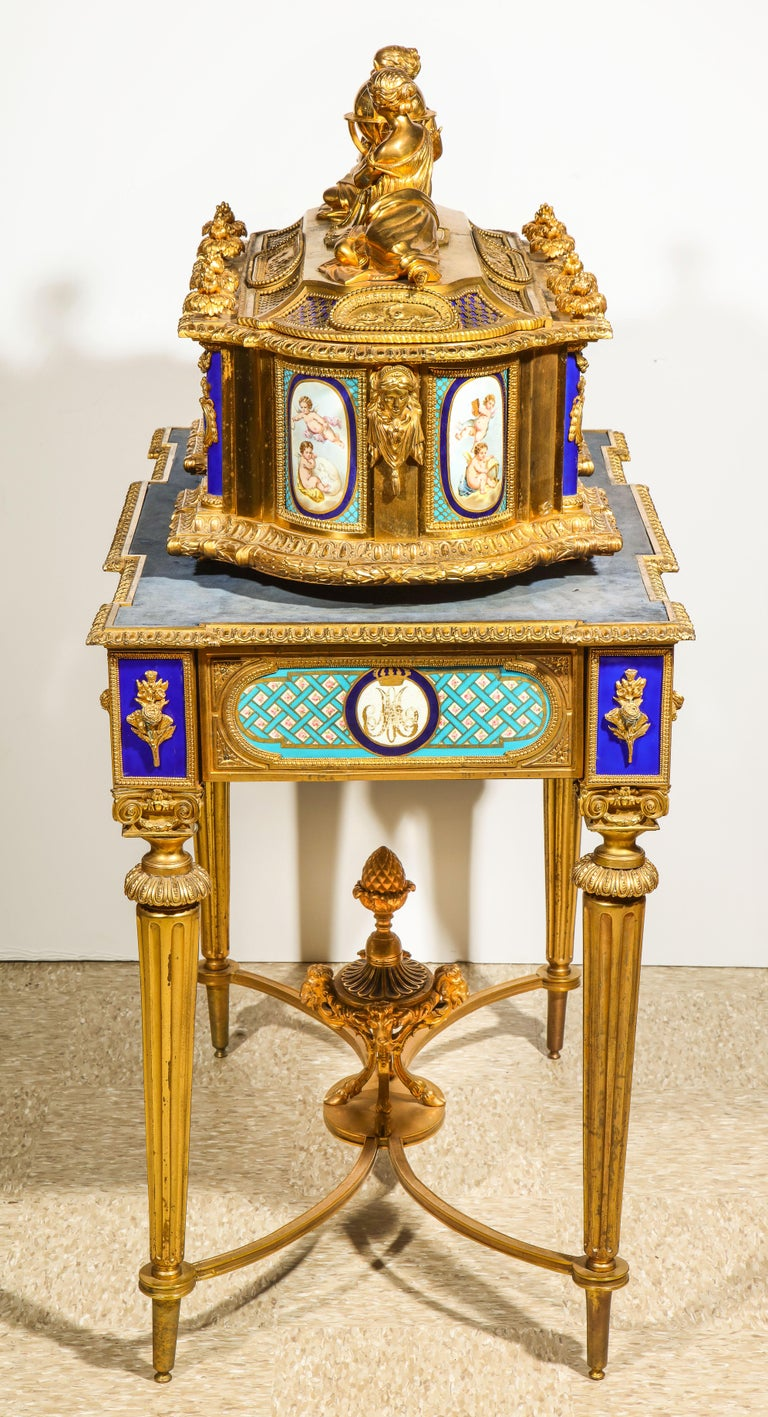 Rare Important French Ormolu Sevres Style Porcelain Jewelry Box on Bronze Table For Sale 1