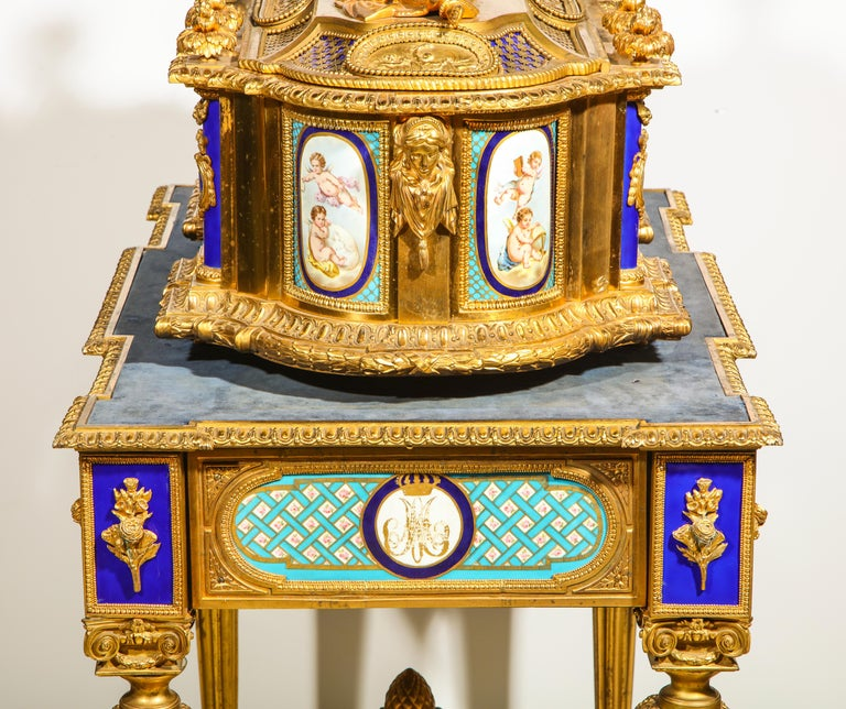Rare Important French Ormolu Sevres Style Porcelain Jewelry Box on Bronze Table For Sale 2